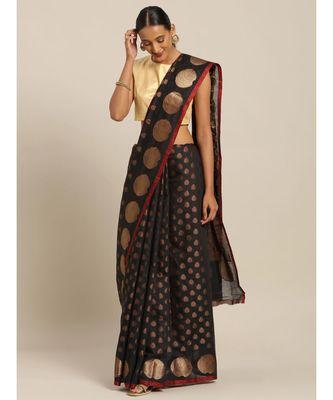 Sangam Prints Black Handloom Silk Zari Work Traditional Saree