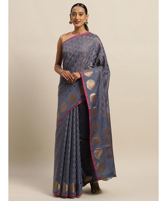 Sangam Prints Blue Handloom Silk Zari Work Traditional Saree