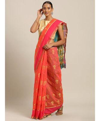 Sangam Prints Gajari Cotton Handloom Woven Work Traditional Saree