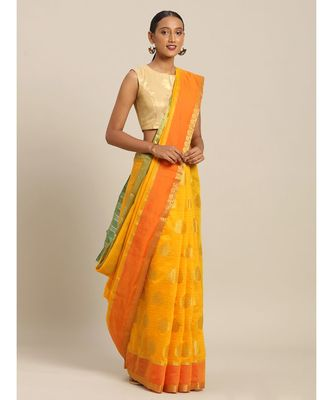 Sangam Prints Yellow Cotton Handloom Woven Work Traditional Saree