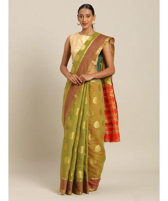 Sangam Prints Mehendi Green Cotton Handloom Woven Work Traditional Saree