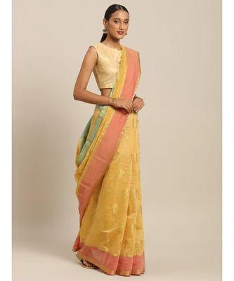 Sangam Prints Beige Cotton Handloom Woven Work Traditional Saree