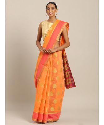 Sangam Prints Orange Cotton Handloom Woven Work Traditional Saree