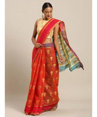 Sangam Prints Rusk Red Cotton Handloom Woven Work Traditional Saree