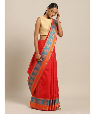 Sangam Prints Red Handloom Silk Thread Work Traditional Saree