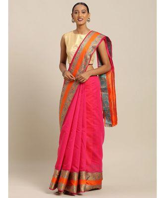 Sangam Prints Magenta Handloom Silk Thread Work Traditional Saree