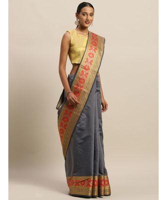 Sangam Prints Grey Handloom Silk Thread Work Traditional Saree