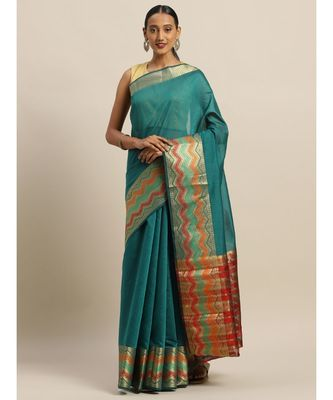 Sangam Prints Green Handloom Silk Thread Work Traditional Saree