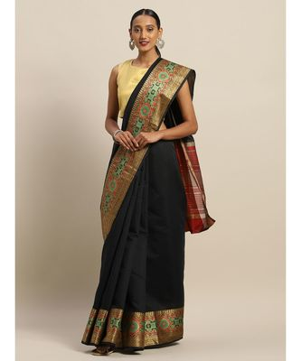 Sangam Prints Black Handloom Silk Thread Work Traditional Saree