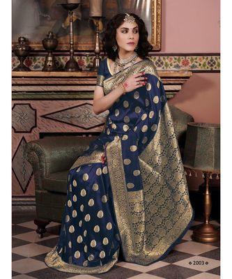 Sangam Prints Navy Blue Pure Silk Woven Work Traditional Saree