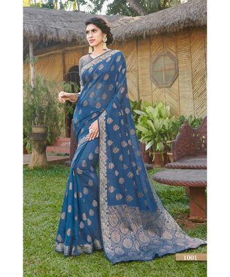 Sangam Prints Blue Handloom Silk Woven Work Traditional Saree