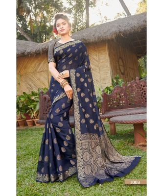 Sangam Prints Navy Blue Handloom Silk Woven Work Traditional Saree