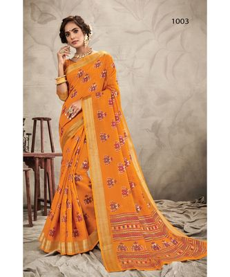 Sangam Prints Mustard CHANDERI Resham Embroidery Traditional Saree