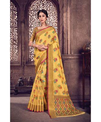 Sangam Prints Yellow Cotton Handloom Woven Work Traditional Saree