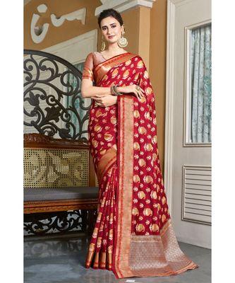 Sangam Prints Maroon Handloom Silk Woven Work Traditional Saree