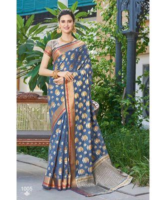 Sangam Prints Grey Handloom Silk Woven Work Traditional Saree