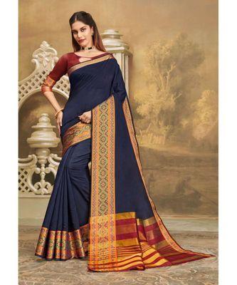 Sangam Prints Blue Khadi Silk Woven Work Traditional Saree