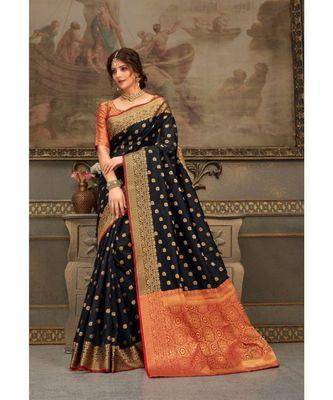 Sangam Prints Black Handloom Silk Woven Work Traditional Saree