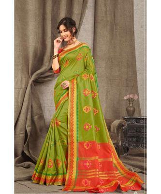 Sangam Prints Green Cotton Handloom Woven Work Traditional Saree