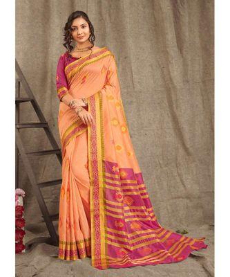 Sangam Prints Peach Cotton Handloom Woven Work Traditional Saree