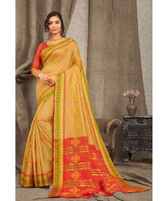 Sangam Prints Golden Cotton Handloom Woven Work Traditional Saree