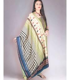 Green Pashmina Kurta with Embroidery and Contemporary Blue Muslin Dupatta