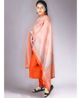 Orangish Red Matte Pashmina 3Pc Suit With Embroidery Highlights