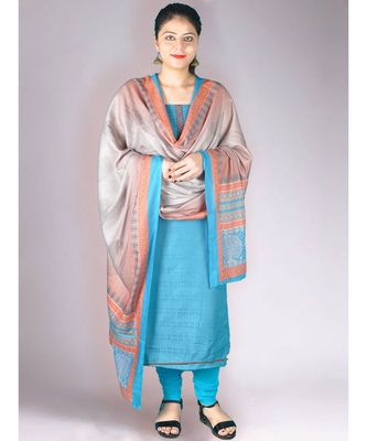 Blue Matte Pashmina 3Pc Suit With Machine Embroidery