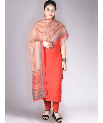 Red Matte Pashmina 3Pc Suit With Machine Embroidery