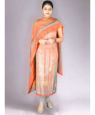 Peach Pashmina 3Pc Suit With Highlights