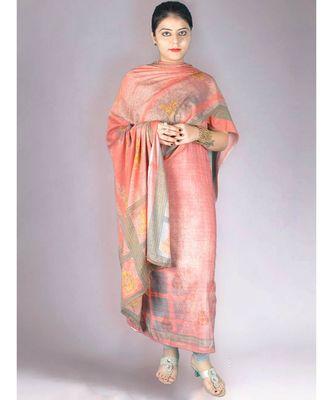 Peach Pashmina Printed 3Pc Suit With Swaroski Work