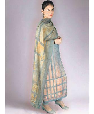 Grey And Peach Pashmina Printed 3pcs Suit With Swarovski Work