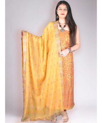 Yellow Pure Pashmina Kurta With Jamawar Weave With Dupatta And Lower Suit Set
