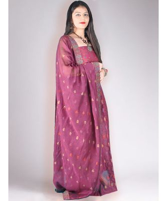Wine Coloured Pure Pashmina Kurta With Jamawar Weave With Dupatta And Lower 3pc Suit Set