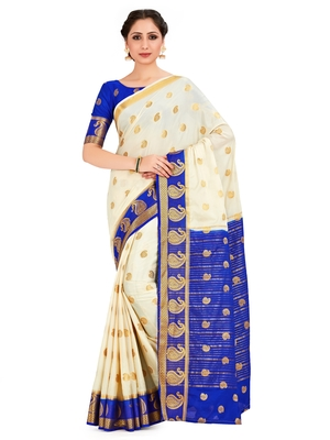 off-white hand woven crepe saree with blouse