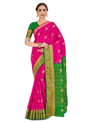 pink hand woven crepe saree with blouse