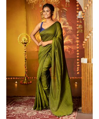 Mehendi Green Blended Cotton Saree