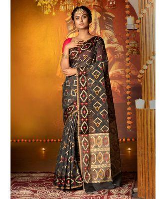 Black Khadi Chanderi Silk Saree With Multi Color Geometric Motifs