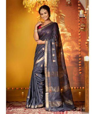Black Banswara Silk Saree With Temple Motifs