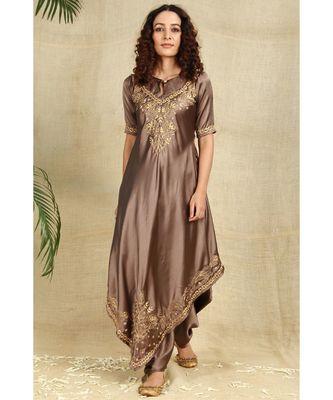 Bronze Color Chikankari Kurti with golden Resham Thread Work paired with Dhoti