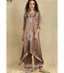 Bronze Chikankari Kurti with white Resham Thread Work paired with palazzo