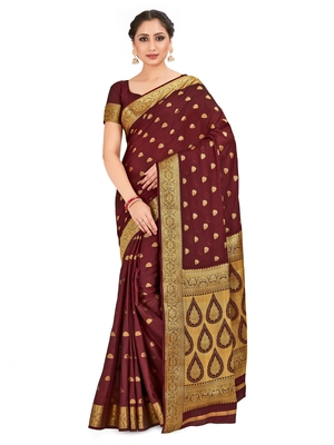 tan hand woven crepe saree with blouse
