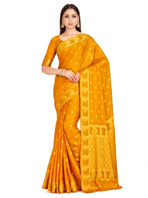 mustard hand woven crepe saree with blouse