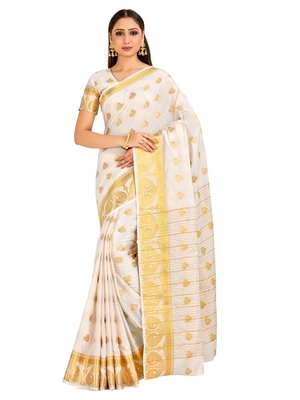 white hand woven crepe saree with blouse