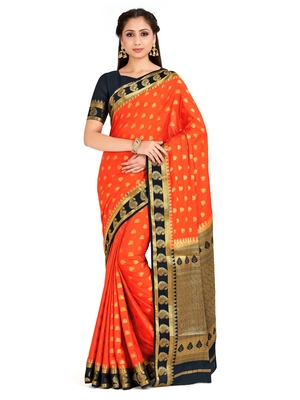 orange hand woven crepe saree with blouse