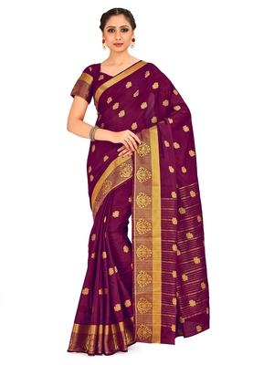 purple hand woven crepe saree with blouse