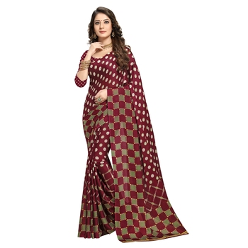 maroon printed crepe saree with blouse