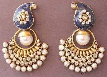 Gorgeous Antique Royal Blue Mango Pearl Meenawork Huge Earrings