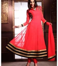 Styles Closet Peach Hand work georgette semi stitched Anarkali Suit