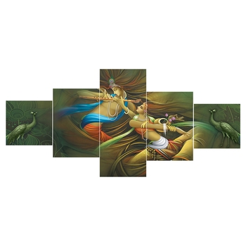 eCraftIndia Set of 5 Radha Krishna Premium Sunboard Panels Painting